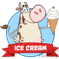 illustration happy cow cartoon mascot character holding a ice cream circle banner  gif, png, jpg, eps, svg, pdf