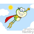 Royalty Free RF Clipart Illustration Frog Superhero Cartoon Character Flying In The Sky