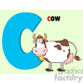 illustration funny cartoon alphabet c with cow  gif, png, jpg, eps, svg, pdf