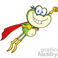 Royalty Free RF Clipart Illustration Frog Superhero Cartoon Character Flying