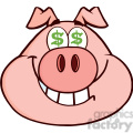 Royalty Free RF Clipart Illustration Smiling Rich Pig Head With Dollar Eyes