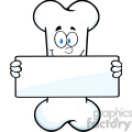 Royalty Free RF Clipart Illustration Funny Bone Cartoon Mascot Character Holding A Banner