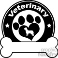 royalty free rf clipart illustration veterinary black circle label design with love paw dog and bone under text gif, png, jpg, eps, svg, pdf