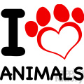 illustration i love animals text with red heart paw print  gif, png, jpg, eps, svg, pdf