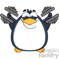 royalty free rf clipart illustration smiling penguin cartoon mascot character training with dumbbells gif, png, jpg, eps, svg, pdf