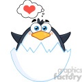 Royalty Free RF Clipart Illustration Surprise Baby Penguin Out Of An Egg Shell With Speech Bubble With Heart