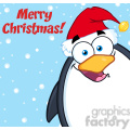 Royalty Free RF Clipart Illustration Merry Christmas With Cute Penguin Cartoon Mascot Character Looking From A Corner