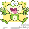 7272 Royalty Free RF Clipart Illustration Crazy Green Frog Cartoon Character Jumping With Cash