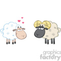 royalty free rf clipart illustration white sheep in love with ram sheep  gif, png, jpg, eps, svg, pdf