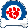 royalty free rf clipart illustration veterinary blue circle label design with love paw dog and bone  gif, png, jpg, eps, svg, pdf