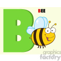illustration funny cartoon alphabet b with bee  gif, png, jpg, eps, svg, pdf