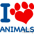 Royalty Free RF Clipart Illustration I Love Animals Text With Heart Paw Print In Red And Blue