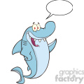 royalty free rf clipart illustration happy shark cartoon character waving with speech bubble  gif, png, jpg, eps, svg, pdf