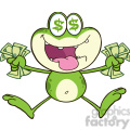 royalty free rf clipart illustration crazy green frog cartoon character jumping with cash  gif, png, jpg, eps, svg, pdf