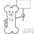 royalty free rf clipart illustration black and white funny bone cartoon mascot character holding a blank sign gif, png, jpg, eps, svg, pdf