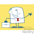 Royalty Free RF Clipart Illustration Smiling Businessman Waving Monochrome Cartoon Character On Yellow Background