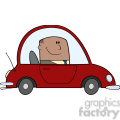 Royalty Free RF Clipart Illustration African American Businessman Driving Car To Work Cartoon Character