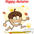 royalty free rf clipart illustration happy autumn with funny acorn cartoon mascot character  gif, png, jpg, eps, svg, pdf