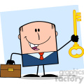 Royalty Free RF Clipart Illustration Happy Businessman With Briefcase Holding A Golden Key Cartoon Character On Background