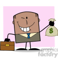 winking african american businessman with briefcase holding a money bag cartoon character on background gif, png, jpg, eps, svg, pdf