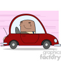 Royalty Free RF Clipart Illustration African American Businessman Driving Car To Work Cartoon Character On Background