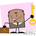 Royalty Free RF Clipart Illustration Happy African American Businessman With Briefcase Holding A Golden Key Cartoon Character On Background