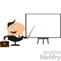 8347 Royalty Free RF Clipart Illustration Happy Manager Pointing To A White Board Flat Style Vector Illustration