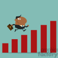 8294 Royalty Free RF Clipart Illustration African American Manager Running Over Growth Bar Graph Flat Design Style Vector Illustration