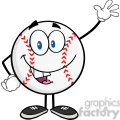 baseball ball cartoon mascot character waving for greeting  gif, png, jpg, eps, svg, pdf