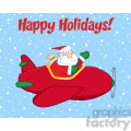 8204 Royalty Free RF Clipart Illustration Happy Holidays Greeting With Santa Claus Flying A Plane And Waving