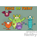 8940 Royalty Free RF Clipart Illustration Happy Funny Monsters Cartoon Characters Vector Illustration Greeting Card vector clip art image