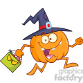 8898 Royalty Free RF Clipart Illustration Funny Witch Pumpkin Cartoon Character Running With A Halloween Candy Basket Vector Illustration Isolated On White vector clip art image