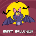 8948 Royalty Free RF Clipart Illustration Happy Vampire Bat Cartoon Character Flying Vector Illustration Greeting Card vector clip art image