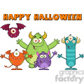 8938 Royalty Free RF Clipart Illustration Happy Funny Monsters Cartoon Characters With Happy Halloween Text Vector Illustration Isolated On White vector clip art image