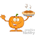 Royalty Free RF Clipart Illustration Happy Halloween Pumpkin Mascot Character Holding Perfect Pie