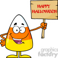 8880 Royalty Free RF Clipart Illustration Funny Candy Corn Cartoon Character Holding A Wooden Board With Text Vector Illustration Isolated On White