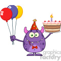 8913 Royalty Free RF Clipart Illustration Funny Monster Holding Up A Birthday Cake Vector Illustration Isolated On White vector clip art image