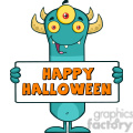 8928 Royalty Free RF Clipart Illustration Happy Horned Blue Monster Cartoon Character Holding Happy Halloween Sign Vector Illustration Isolated On White