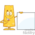 8513 Royalty Free RF Clipart Illustration Funny Cheese Cartoon Character Pointing To A Blank Sign Vector Illustration Isolated On White