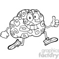 8801 royalty free rf clipart illustration black and white brain cartoon character jogging and giving a thumb up vector illustration isolated on white gif, png, jpg, eps, svg, pdf