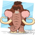 8751 Royalty Free RF Clipart Illustration Mammoth Cartoon Character Vector Illustration Isolated On White