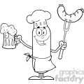 8443 Royalty Free RF Clipart Illustration Black And White Happy Chef Sausage Cartoon Character Holding A Beer And Weenie On A Fork Vector Illustration Isolated On White