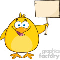 8615 Royalty Free RF Clipart Illustration Happy Yellow Chick Cartoon Character Holding A Wooden Sign Vector Illustration Isolated On White
