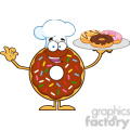 8702 Royalty Free RF Clipart Illustration Chef Chocolate Donut Cartoon Character Serving Donuts Vector Illustration Isolated On White