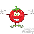 8400 Royalty Free RF Clipart Illustration Tomato Cartoon Mascot Character With Open Arms For A Hug Vector Illustration Isolated On White