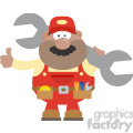 8550 Royalty Free RF Clipart Illustration African American Mechanic Cartoon Character Holding Huge Wrench And Giving A Thumb Up Flat Syle Vector Illustration Isolated On White
