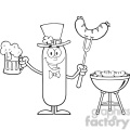 8453 Royalty Free RF Clipart Illustration Black And White Leprechaun Sausage Cartoon Character Holding A Beer And Weenie Next To BBQ Vector Illustration Isolated On White