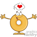 8656 royalty free rf clipart illustration funny donut cartoon character thinking of love and wanting a hug vector illustration isolated on white gif, png, jpg, eps, svg, pdf