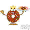 8703 Royalty Free RF Clipart Illustration King Chocolate Donut Cartoon Character Serving Donuts Vector Illustration Isolated On White