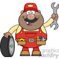 8555 Royalty Free RF Clipart Illustration Smiling African American Mechanic Cartoon Character With Tire And Huge Wrench Vector Illustration Isolated On White